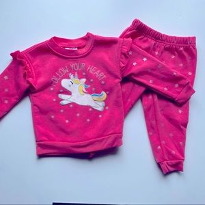 6/$20🔹 baby girl pink sweat suite 18m
